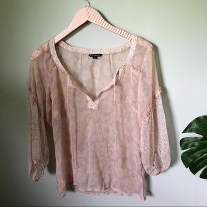 American Eagle Outfitters Sheer Cheetah Blouse S